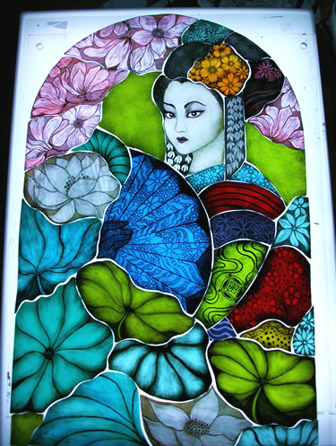 Stained glass geisha by Angie Dibble