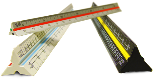 300mm and 150mm Triangular scaled rulers