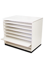 Sliding shelf cabinets for paper or drawing board storage